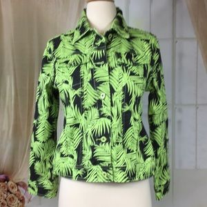 DG2 Black & Green Jean Jacket With Fern Pattern